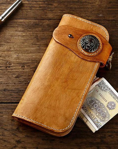 Handmade Leather Biker Chain Wallets Mens Cool Chain Long Wallet with Chain