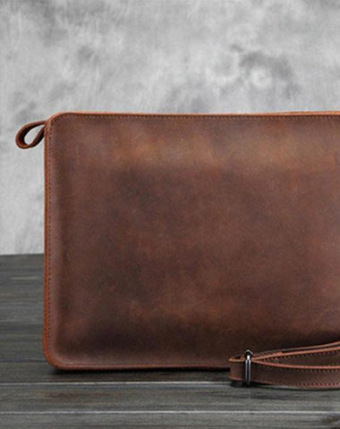 Vintage Small Leather Mens Messenger Bag Clutch Wristlet Shoulder Bag for Men