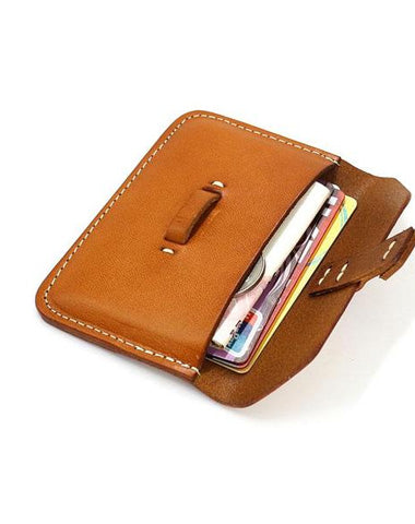 Handmade Leather Mens Card Wallets Front Pocket Wallet Small Change Wallets for Men