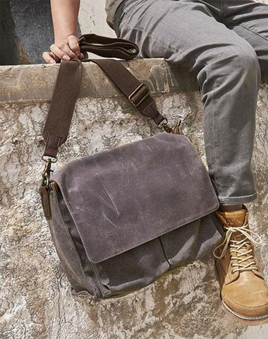 Mens Canvas Gray Cool Side Bag Messenger Bag Canvas Shoulder Bag for Men