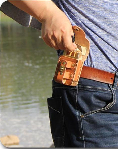 Cool Leather Mens Cigarette Case with Belt Loop Cigarette Holder Lighter Holder for Men