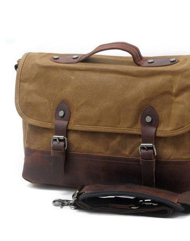 Mens Waxed Canvas Leather Messenger Bag Camera Side Bag Courier Bag for Men