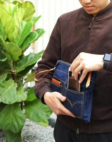 Cool Blue Jean Mens Clutch Bag Wristlet Wallet Zipper Clutch Wallet For Men