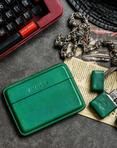 Handmade Green Leather Slim Mens 10pcs Cigarette Holder Case Cool Custom Cigarette Case for Men