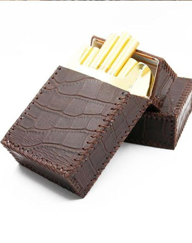 Cool Handmade Leather Mens Coffee Cigarette Holder Case for Men Alligator Pattern