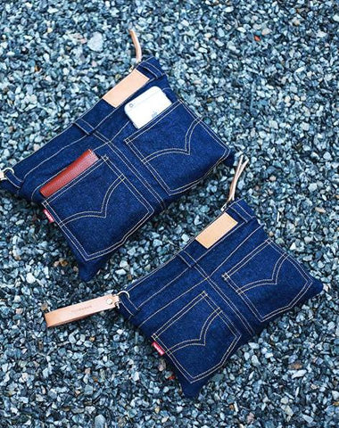 Unique Blue Jean Mens Clutch Bag Cool Wristlet Wallet Zipper Clutch Wallet For Men