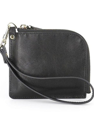 Leather Mens Zipper Small Wallet Wristlet Wallet Clutch Wallet Small Wallet for Men