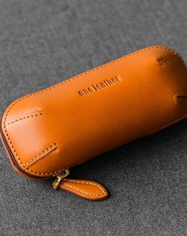 Cool Leather Mens Leather Cigarette Tobacco Pipe Case Zipper Tobacco Pipe Case for Men
