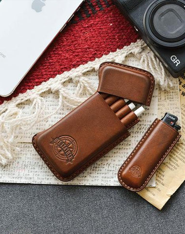 Handmade Brown Leather Womens 10pcs Cigarette Holder Case Cool Custom Cigarette Case for Women