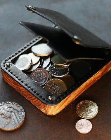 Cool Wooden Black Leather Mens Wallet Small Card Holder Coin Wallet for Men