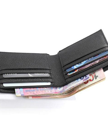 Black Leather Mens Bifold Small Wallet Front Pocket Wallet Slim Short Small Wallet for Men