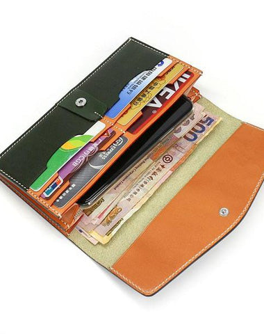 Cool Handmade Mens Leather Long Wallet Envelope Long Bifold Wallet for Men