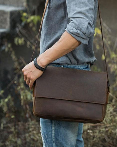 Cool Leather Coffee  Mens Messenger Bags Vintage Shoulder Bags  for Men