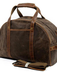 Mens Waxed Canvas Leather Small Weekender Bag Canvas Handbag Travel Bag for Men