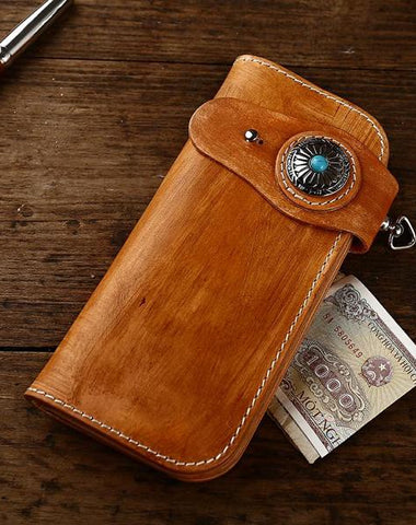 Cool Handmade Leather Biker Chain Wallet Mens Chain Long Wallet with Chain