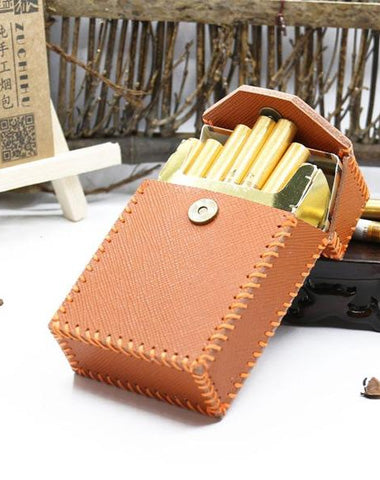 Handmade Brown Leather Cigarette Holder Mens Cool Cigarette Holder Case for Men