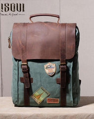 Cool Mens Canvas Leather Travel Backpack Canvas Backpack Canvas School Bag for Men