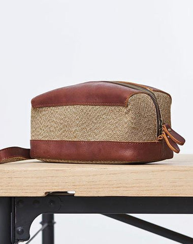 Large Canvas Leather Mens Clutch Bag Zipper Wristlet Bag Purse for Men