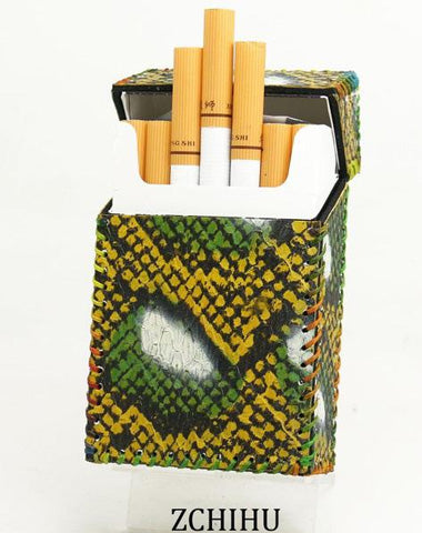 Cool Snake Leather Mens Cigarette Holder Case Handmade Cigarette Holder for Men