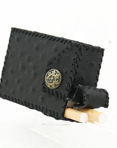 Handmade Cool Leather Mens Vintage Black Cigarette Holder Case Cigarette Holder for Men