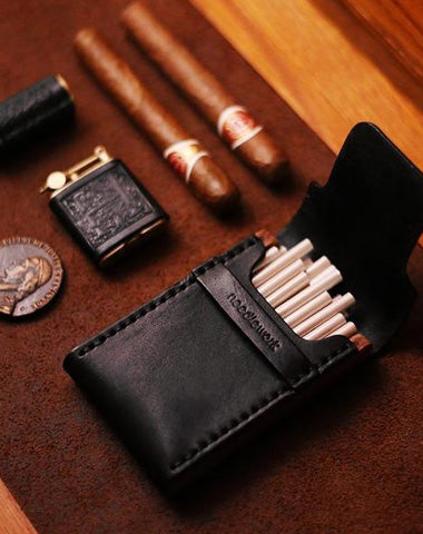 Cool Wooden Black Leather Mens Cigarette Case Custom Cigarette Holder for Men