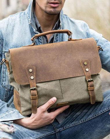 Leather Canvas Messenger Bags for men Vintage Shoulder Bag for men