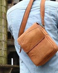 Cool Vintage Leather Small Mens Messenger Bags Shoulder Bags for Men