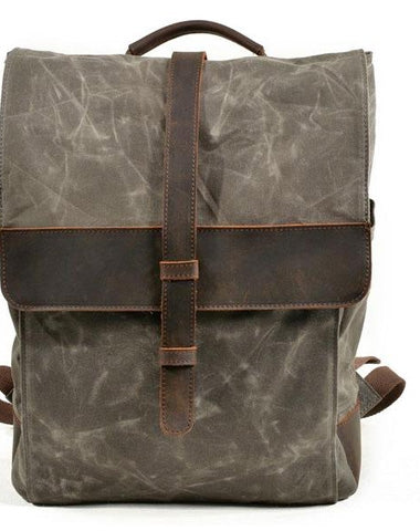 0d94396dde Waxed Canvas Leather Mens Backpack Canvas Travel Backpacks Canvas Scho