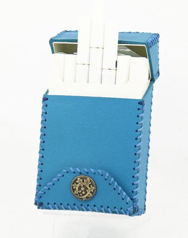 Cool Handmade Leather Mens Blue Cigarette Holder Case for Men