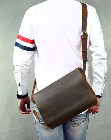 Cool Leather Coffee Mens Side Bag Messenger Bags Vintage Courier Bag for Men