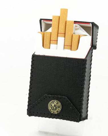Handmade Cool Leather Mens Black Cigarette Holder Case Cigarette Holder for Men