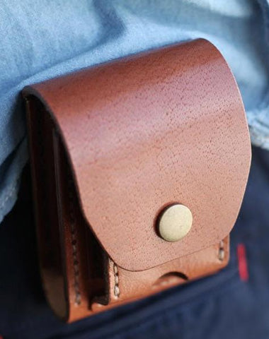 Cool Brown Leather Mens Cigarette Case Cigarette Holder Belt Pouch with Belt Loop for Men
