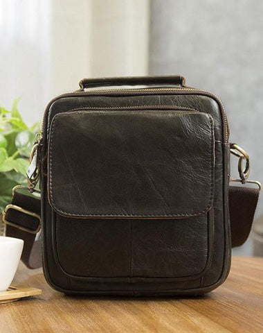 Cool Leather Mens Small Side Bag Messenger Bag Shoulder Bags for Men