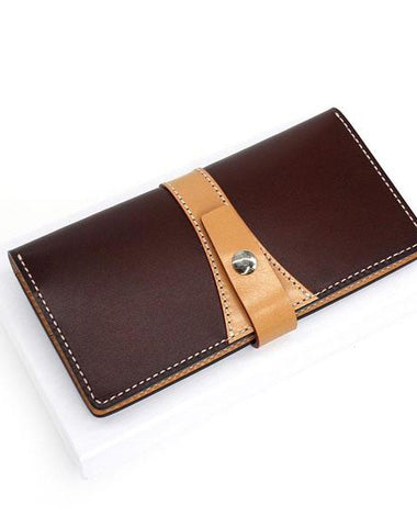 Cool Handmade Mens Leather Bifold Long Wallet Envelope Long Bifold Wallet for Men
