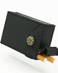 Cool Handmade Leather Mens Black Cigarette Holder Case for Men