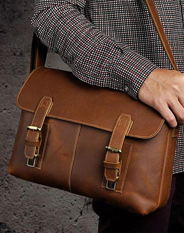 Cool Vintage Brown Leather Mens Side Bag Messenger Bag Shoulder Bag for Men