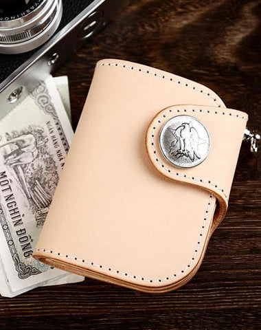 Handmade Leather Small Biker Chain Wallet Mens Cool Short Chain Wallet