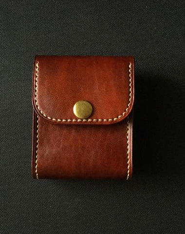Leather Brown Mens Cigarette Case Cigarette Holder Belt Pouch with Belt Loop for Men