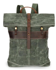 Waxed Canvas Mens Cool Backpacks Canvas Travel Backpack Canvas School Backpack for Men