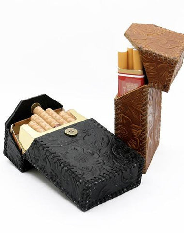 Handmade Cool Leather Mens Engraved Cigarette Holder Case Cigarette Holder for Men