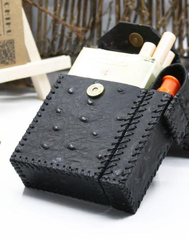 Cool Handmade Leather Mens Black Cigarette Holder Case with Lighter holder for Men