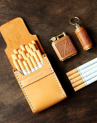 Cool Wooden Beige Leather Mens 20pcs Cigarette Case Custom Cigarette Holder for Men