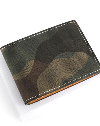 Cool Leather Mens Camouflage License Wallet Front Pocket Wallet Slim Card Wallet for Men