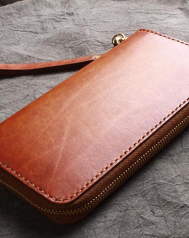 Handmade Leather Wristlet Wallet Mens Long Wallet Cool Long Clutch Wallet for Men