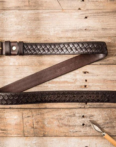 Handmade Cool Braided Leather Mens Belt Leather Belt for Men
