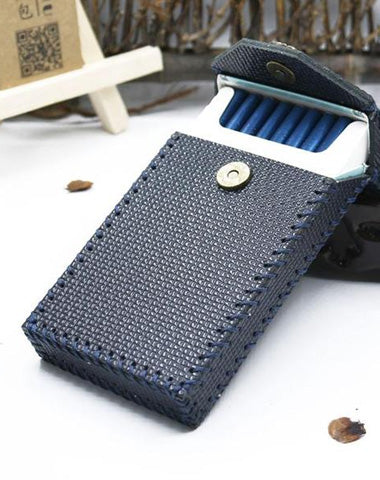 Handmade Leather Cigarette Holder Dark Blue Leather Womens Cigarette Holder Case for Women