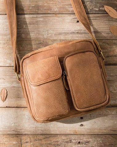 Cool Leather Mens Messenger Bags Small Shoulder Bags  for Men