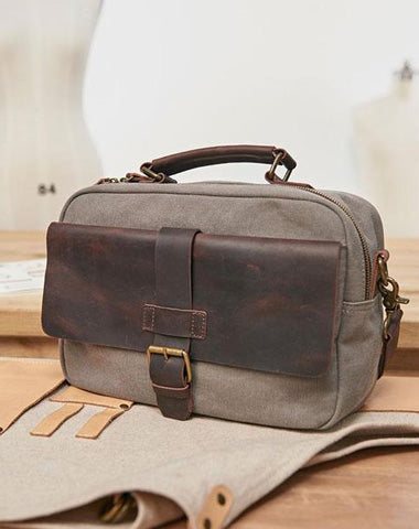 Mens Canvas Gray Cool Messenger Bag Side Bag Canvas Handbag for Men