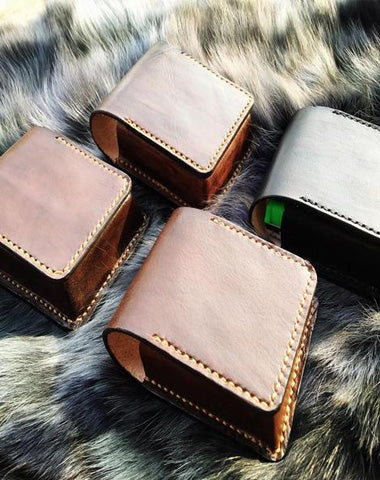 Badass Leather Mens Cigarette Case Cigarette Holder Belt Pouch with Belt Loop for Men