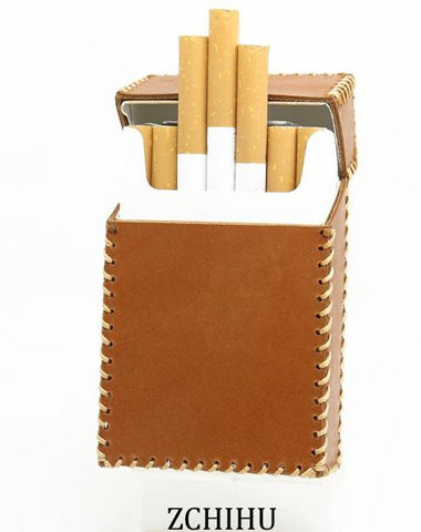 Handmade Cool Leather Mens Cigarette Holder Case Brown Cigarette Holder for Men